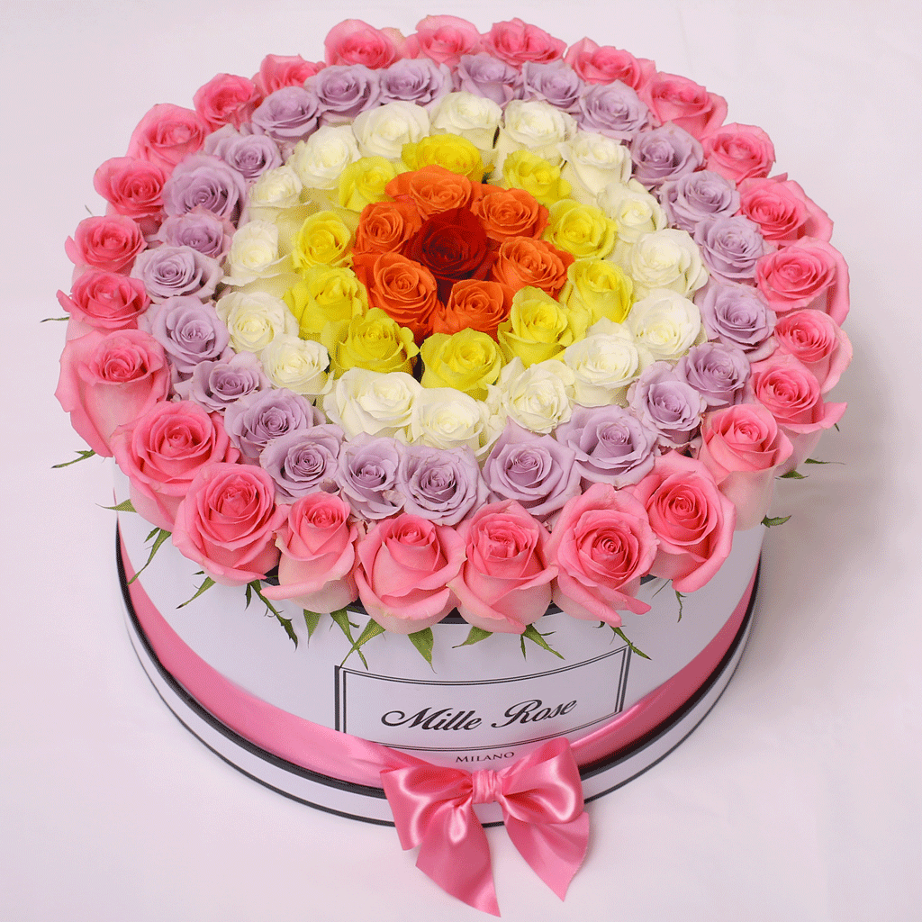 Mille Rose - One Million Box - Rose Rosa Lilla Bianche Gialle Arancioni Rosse - Scatola Bianca