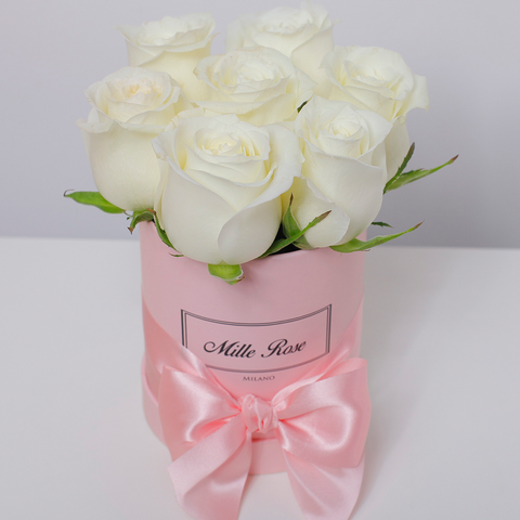 Classic Collection - Mini Box - Rose Bianche - Scatola Rosa