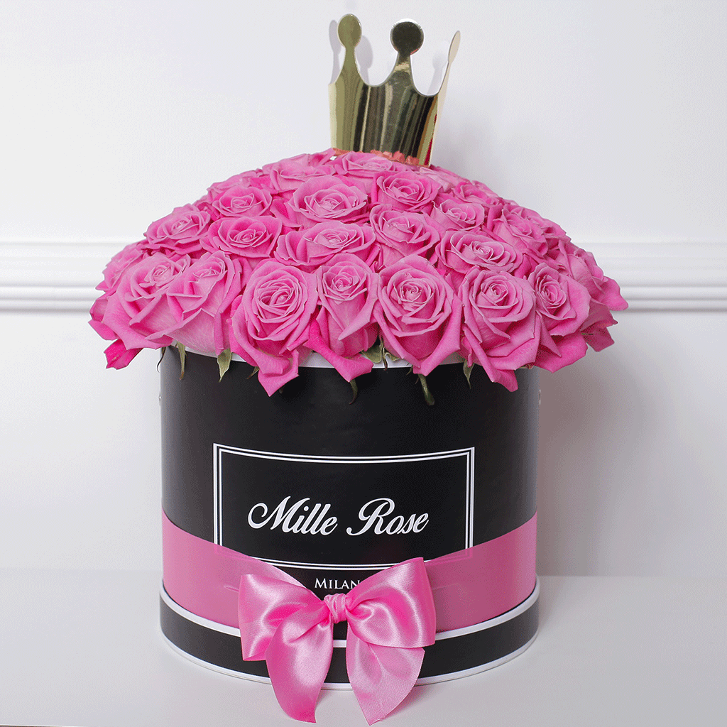 Mille Rose Collection - Medium Box - Rose Rosa Princess - Scatola Nera