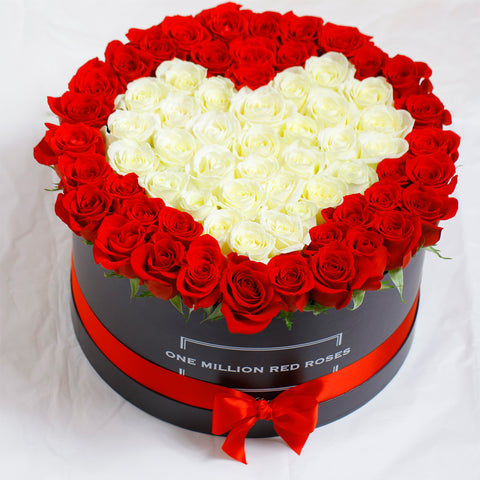 Love Collection - One Million Box - Rose Rosse e Bianche - Scatola nera
