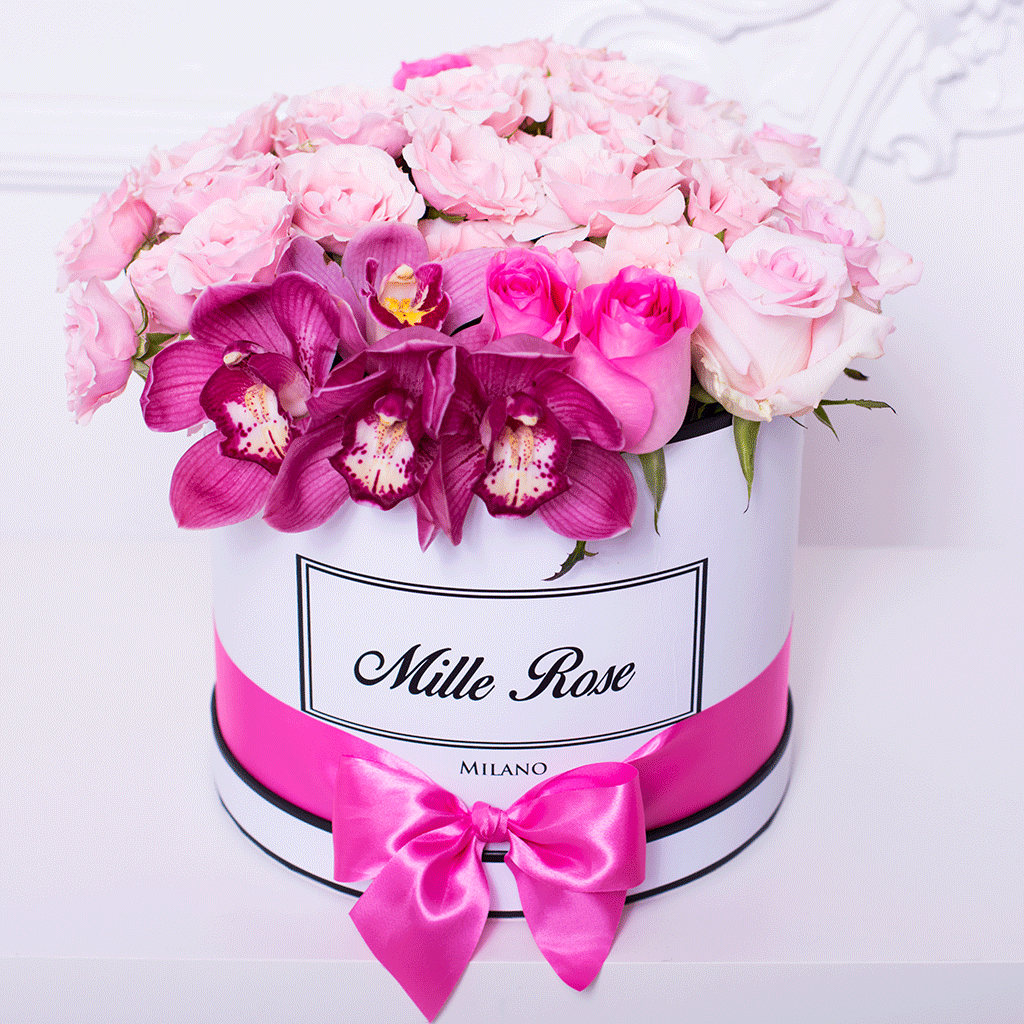 Mille Rose Collection - Medium Box - Rose Mix Cymbidium - Scatola Bianca
