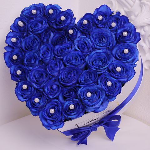 Mille Rose Collection - Love Box - Rose Blu con Perle - Scatola Bianca