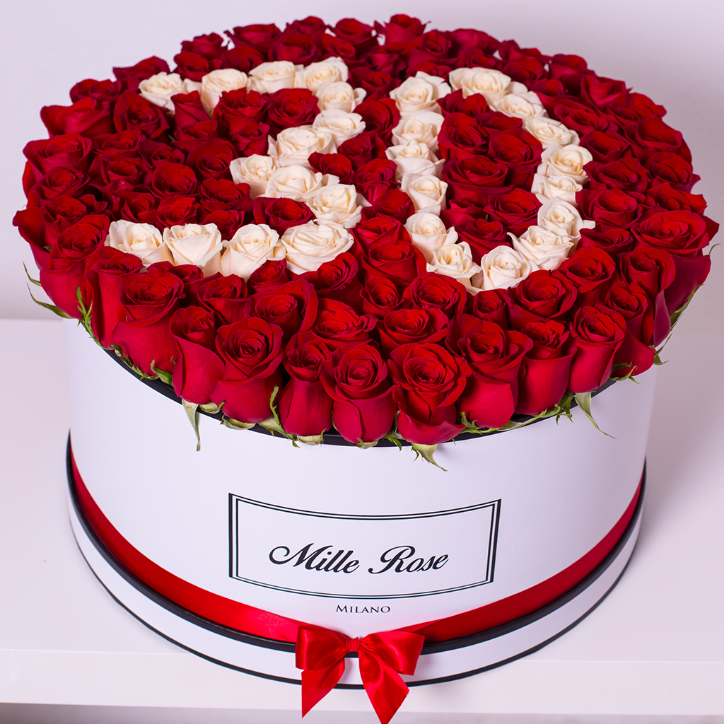 Mille Rose - Custom Collection - One Million Box - Rose Rosse e Bianche - Scatola Bianca