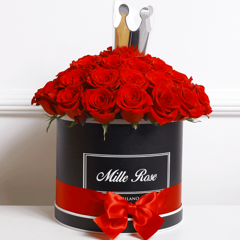 "Classic Collection - Medium Box - Rose Rosse Sfera ""Princess"" - Scatola Nera"