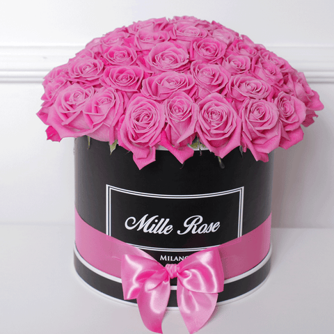 Mille Rose Collection - Medium Box - Rose Rosa Sfera - Scatola Nera