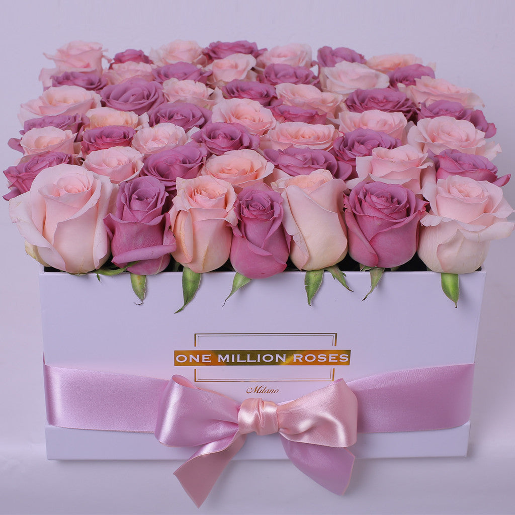 Classic Collection - Square Box - Rose Rosse e Nere - Scatola Bianca