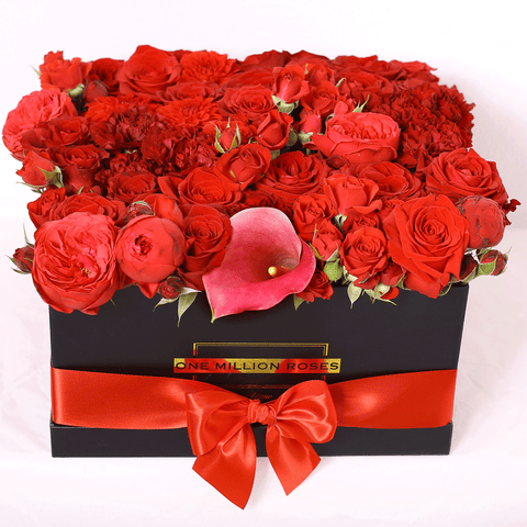 Classic Collection - Square Box - Rose Rosse Mix - Scatola Nera