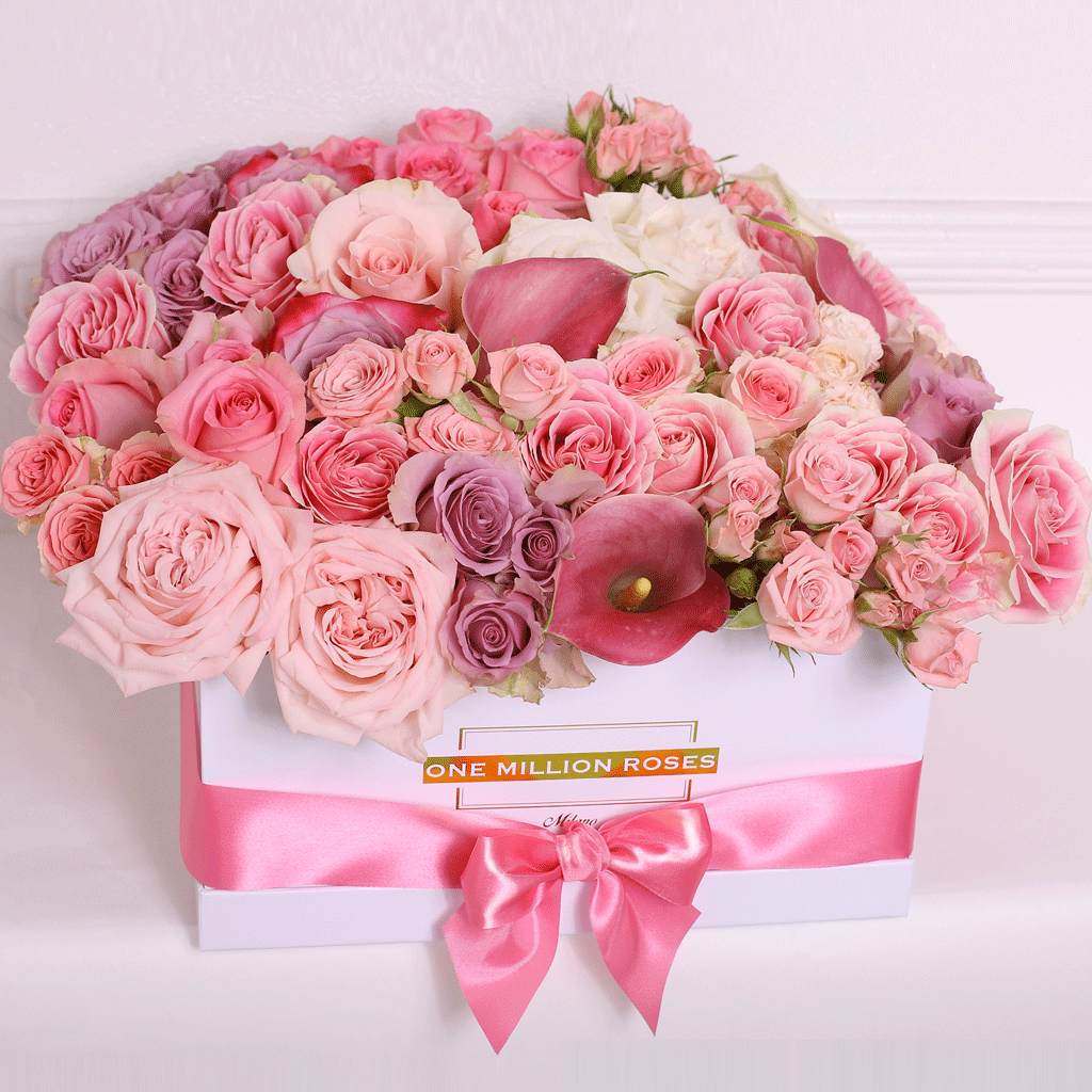 Classic Collection - Square Box - Rose Mix Rosa e Calla - Scatola Bianca