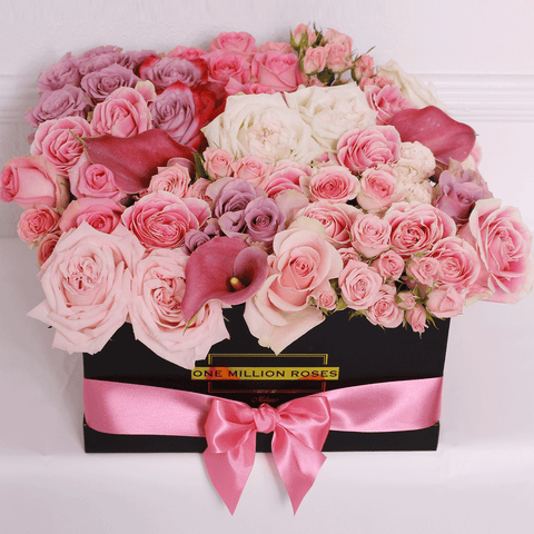 Classic Collection - Square Box - Rose Mix Rosa e Calla - Scatola Nera