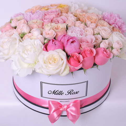 Love Collection - One Million Box - Rose Rosse e Bianche - Scatola ner – One Million Roses