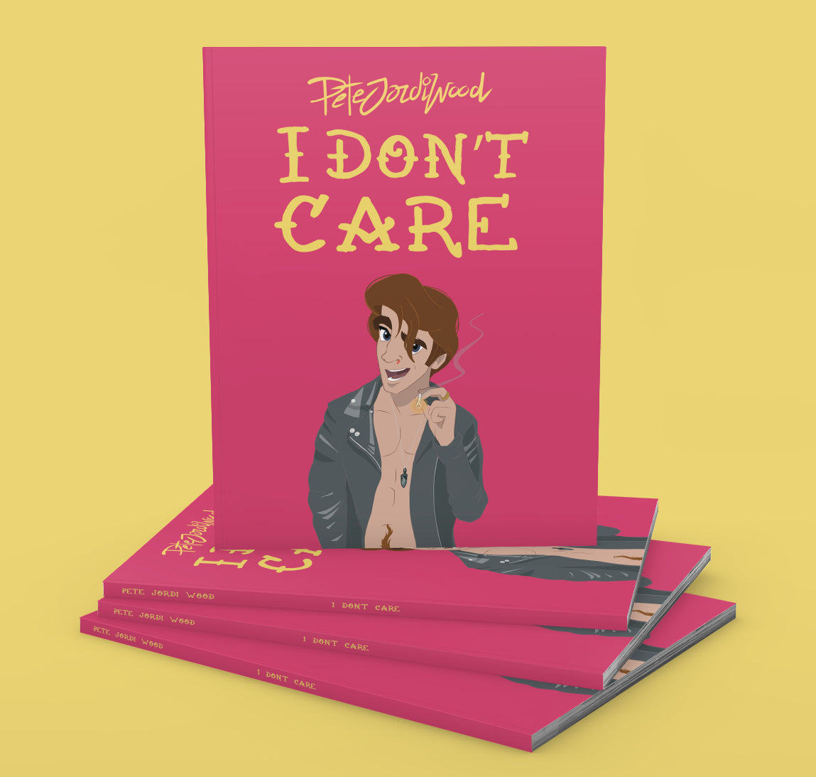 """I Don't Care"" by Pete Jordi Wood is available from Bodega Bijou Illustration Gallery, Cornwall"
