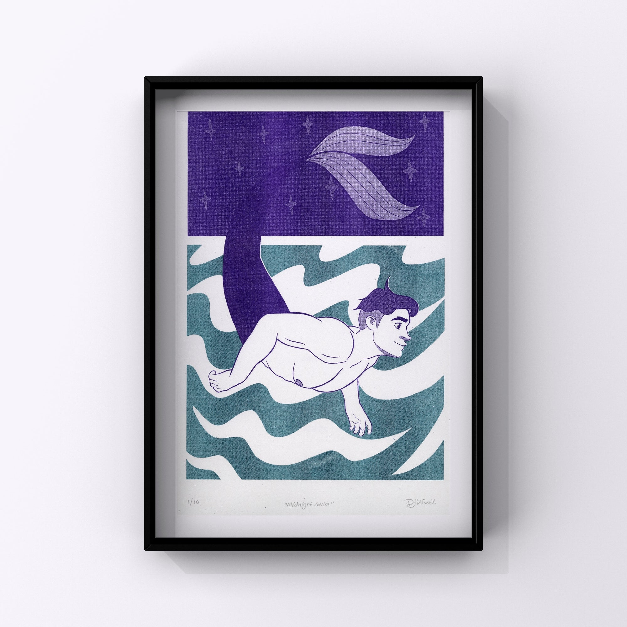 Midnight Swim, Ltd. Edition Risograph Print by Pete Jordi Wood is available from Bodega Bijou Illustration Gallery, Cornwall
