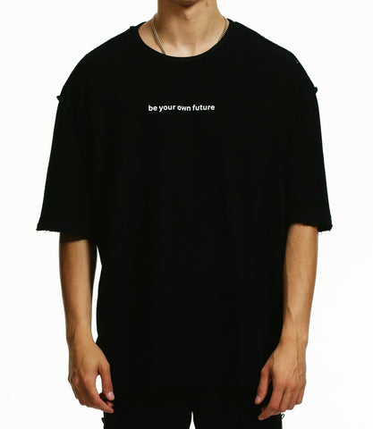 """BE YOUR OWN FUTURE"" LOOPBACK OVERSIZED T-SHIRT / BLACK"
