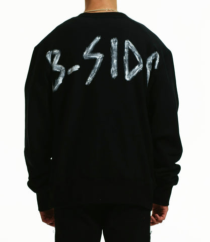 B-SIDE BRUSH BLACK SWEATSHIRT / BLACK