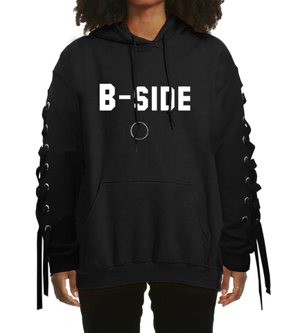 """B-SIDE"" TEXT HOODIE LACE UP DETAIL/ BLACK"