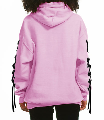 """B-SIDE"" TEXT HOODIE LACE UP DETAIL/ PINK"