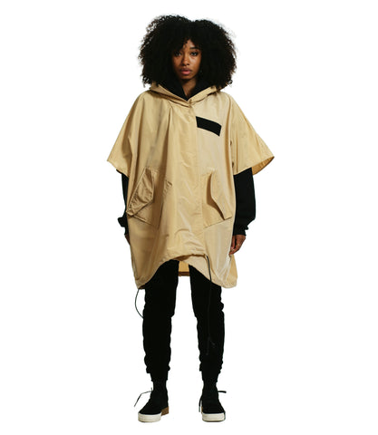 OVERSIZED HOODED CAPE PONCHO / SAND