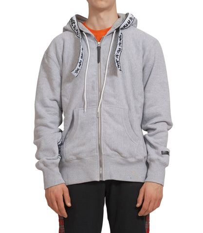 GREY COTTON JERSEY FLEECEBACK HOODIE