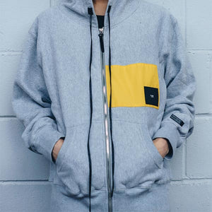 YELLOW PATCH HOODIE -GREY | B-sidebywale