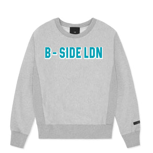 GREY CREWNECK COMMUNITY HEAVY SWEAT | BLUE LOGO | B-sidebywale