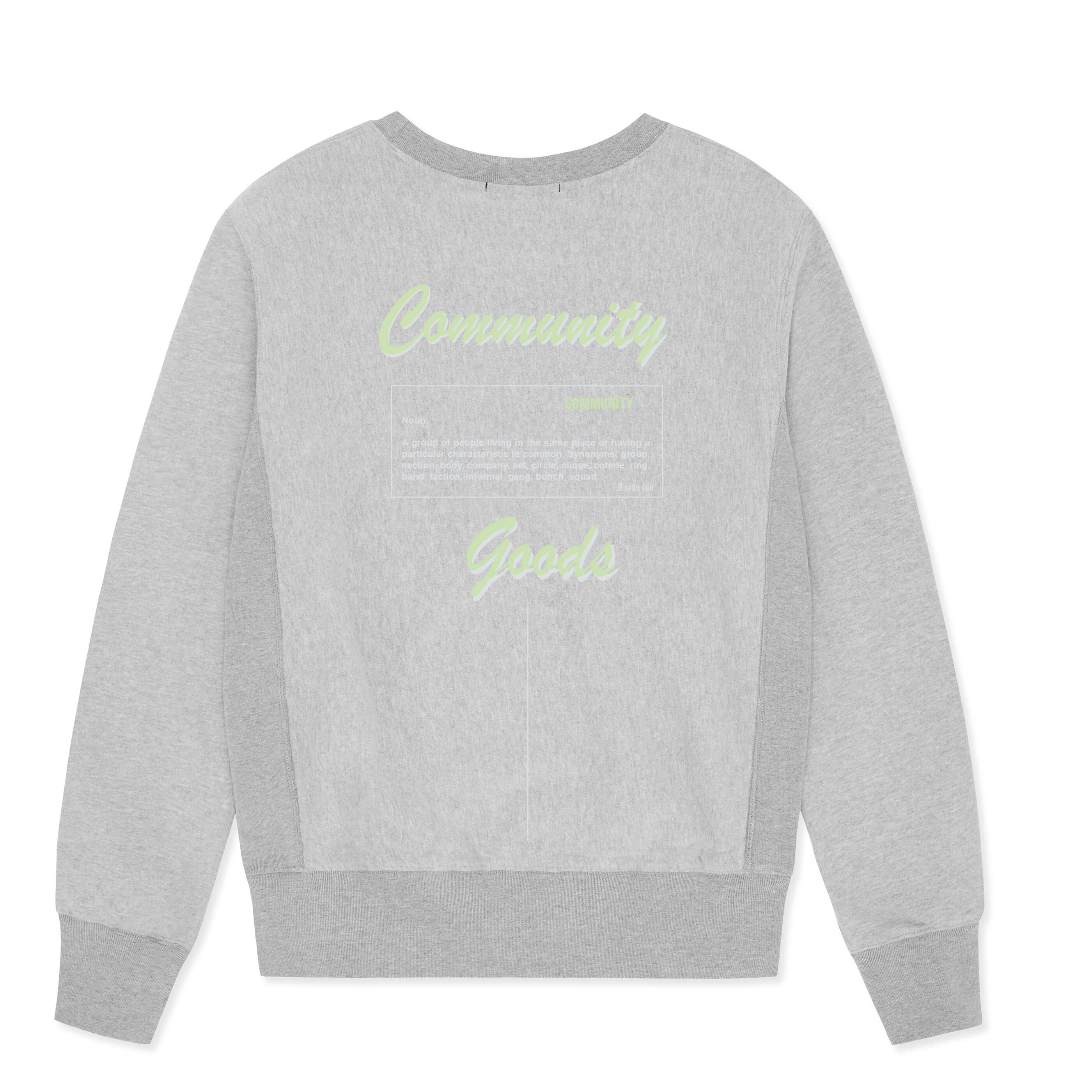 WOMEN'S GREY CREWNECK COMMUNITY HEAVY SWEAT | GREEN LOGO | B-sidebywale