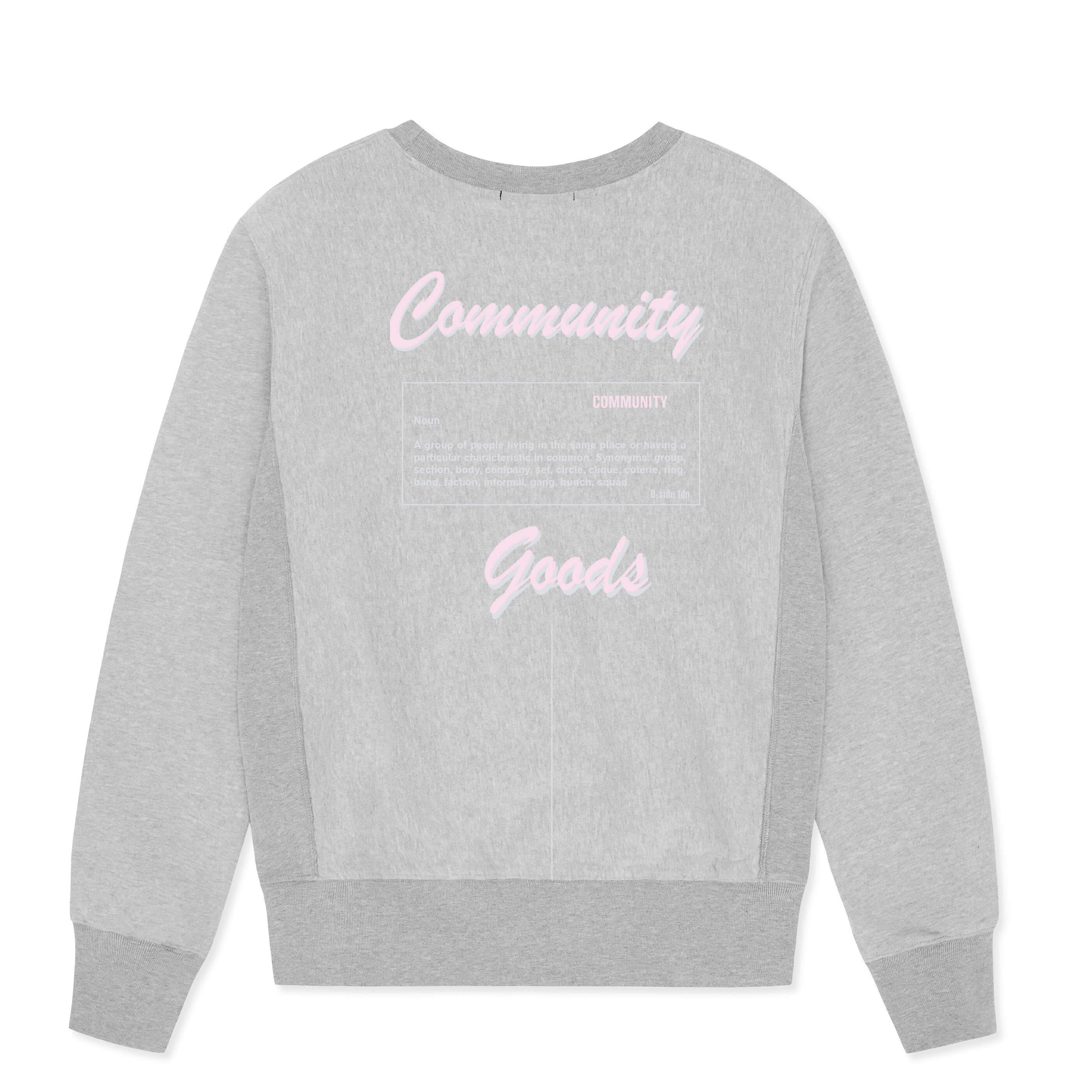 GREY CREWNECK COMMUNITY HEAVY SWEAT | PINK LOGO | B-sidebywale