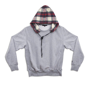 MITCHELL CHECK HOODED SWEAT | B-sidebywale