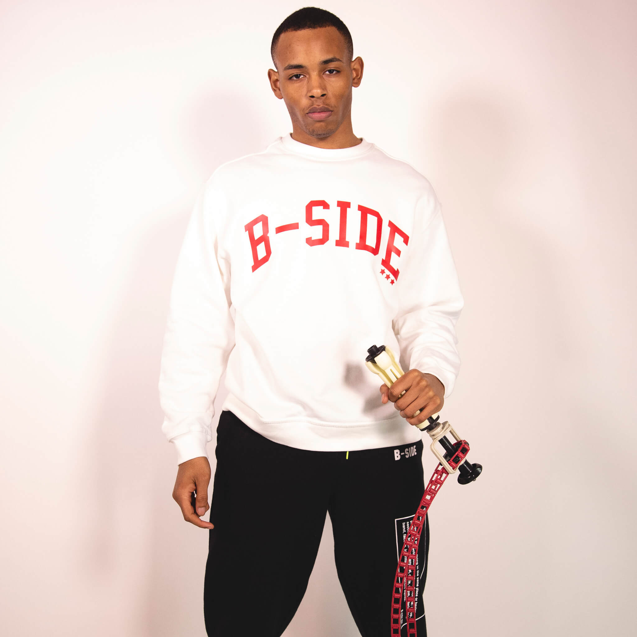WHITE B-STAR CREW | RED LOGO | B-sidebywale