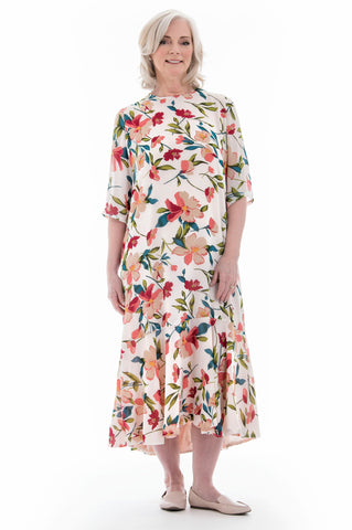 Fluted Floral Dress