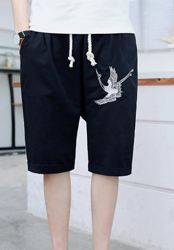 Crane Embroidered Shorts