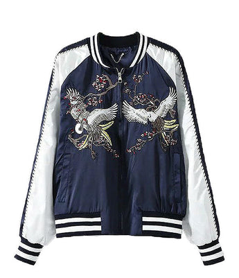 Crane Embroidered Souvenir Jacket