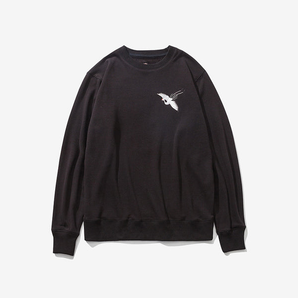 Cotton Crane Embroidered Sweater