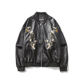 Japanese Embroidery Leather Jacket