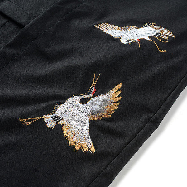 Embroidered Crane Coat