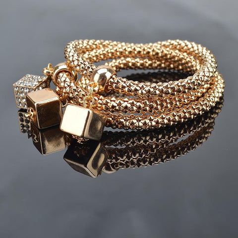 Gold Plated Crystal Chain Bracelets 3/Pcs - MIMS SIGNATURE