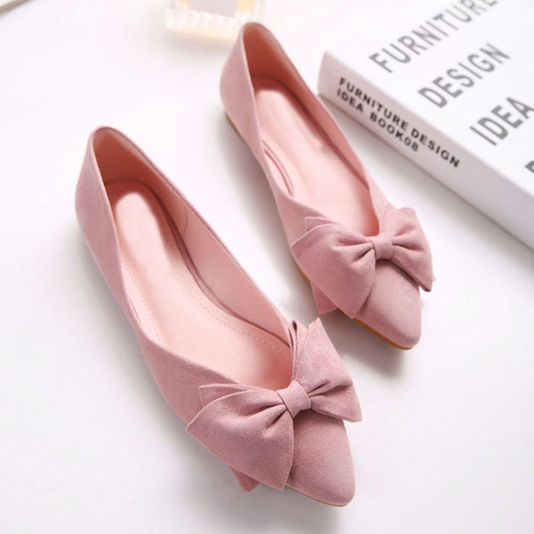 Bowtie Knot Vintage Flock Flat Shoes - Oeuvre by Qamrosh