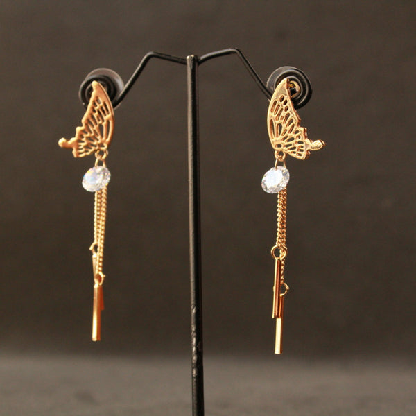Butterfly Earring with american diamond and chain