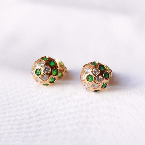 Half Vati Green stone earring with american diamond silver base and gold polish.