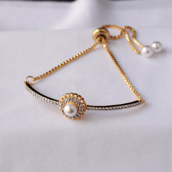 Pearl Bracelet with adjustable chain with american diamond studded.