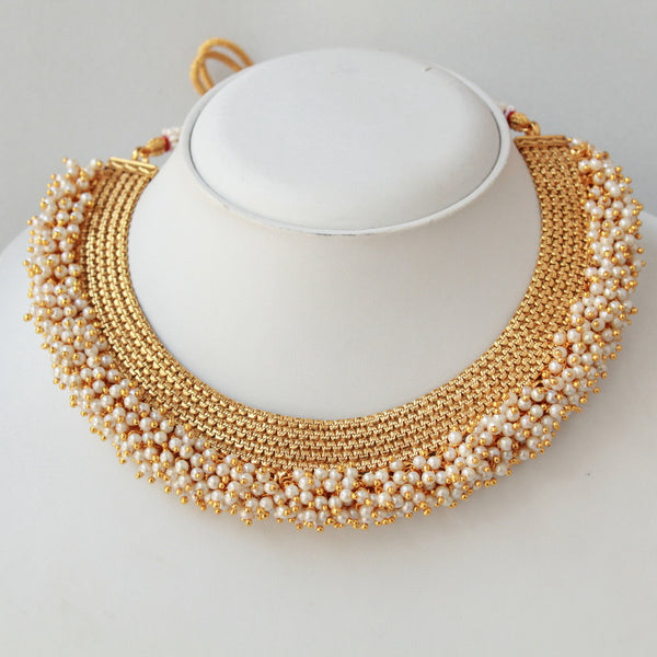 Designer Temple Pearl Ghungru Finish Necklace