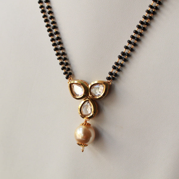 Three Kundan handcrafted Mangalsutra with Pearl Drop