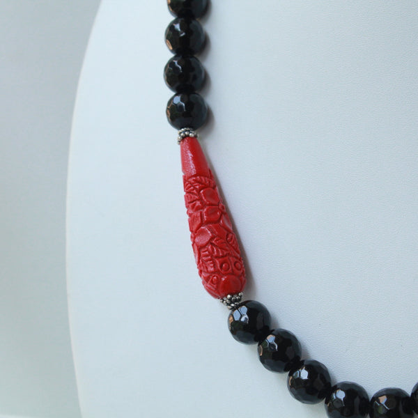 Elegant Onyx Coral handcrafted necklace