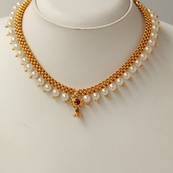 Pearl Golden Handcrafted Thushi