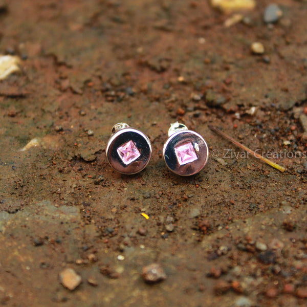 Pure Silver Handcrafted Pink Stone Stud