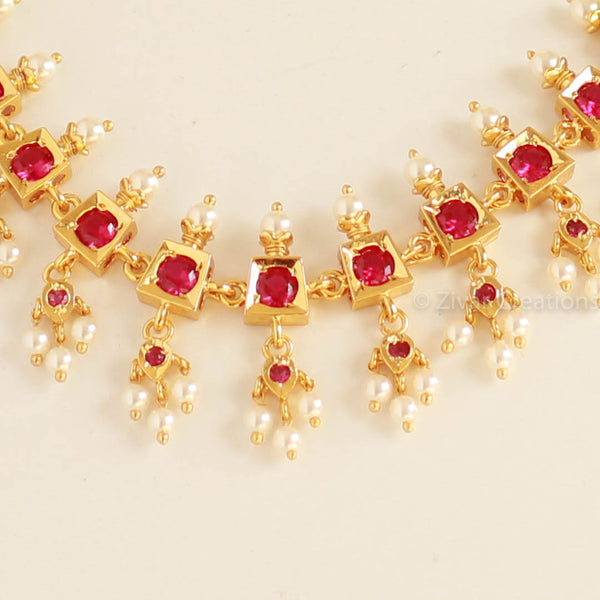 Red Stones South Indian Necklace