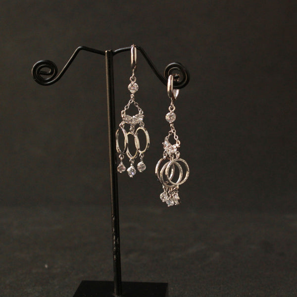 Ring Hanging Earring with american diamond earring
