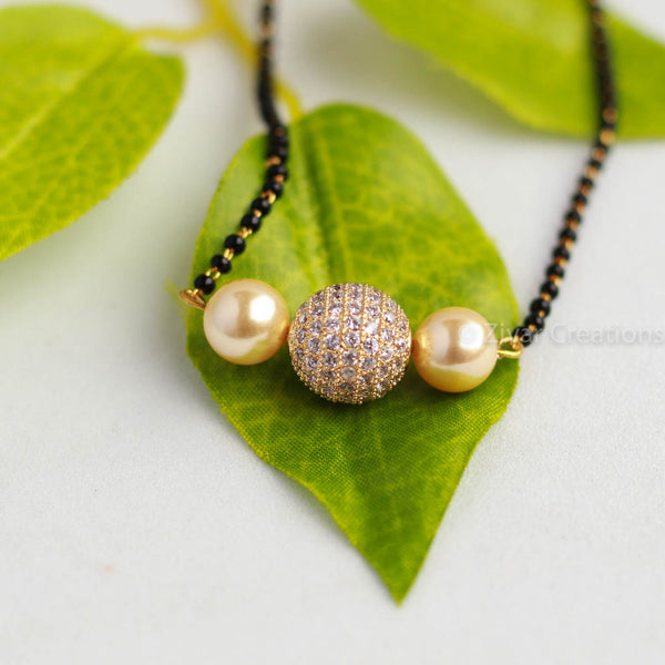 American Diamond Stone Studded Pearl manglalsutra