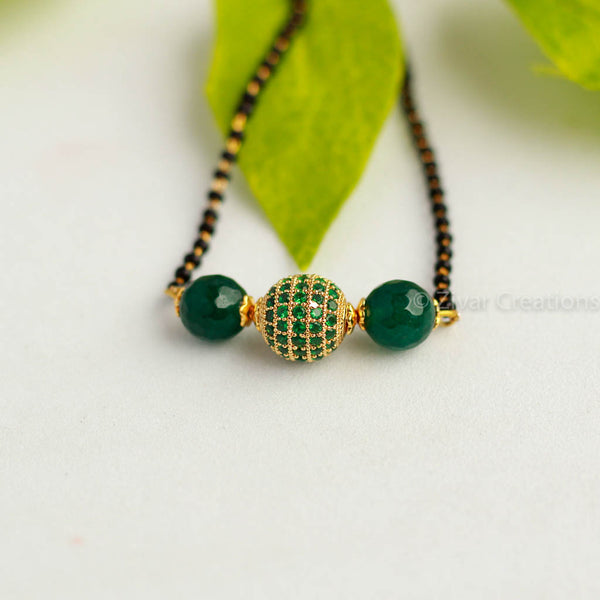 Green AD Stone Studded Mangalsutra