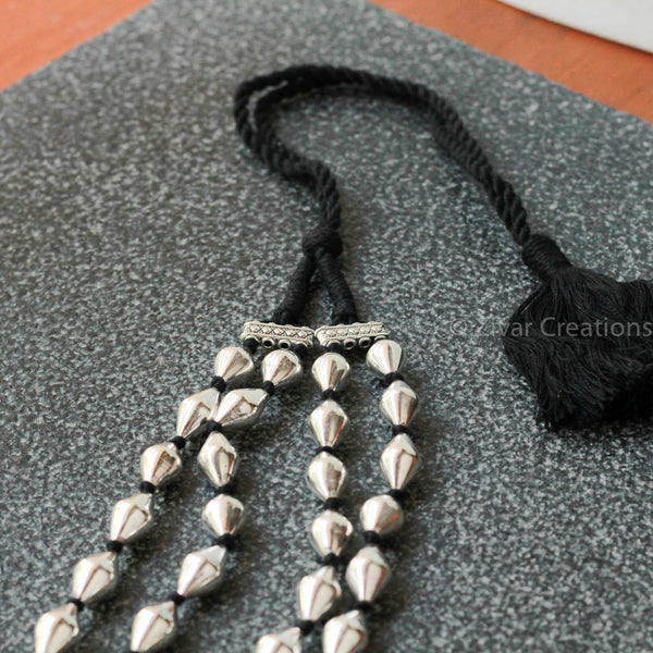 Pure Silver Dholki Beads double Line Necklace