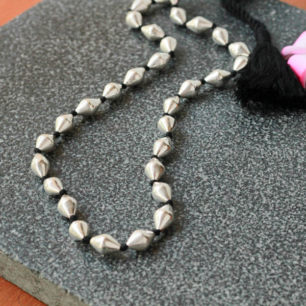 Single Line Beads: Pure Silver Dholki Beads Single Line Necklace
